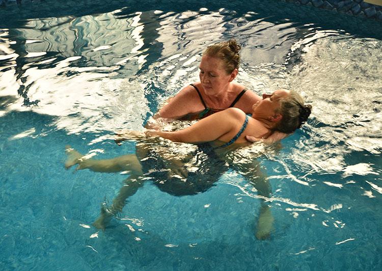 Trudy Jagger giving a WATSU® treatment at Celestial Seahorse